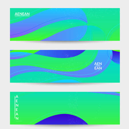 Abstract vector banner template with bright gradient wavy organic overlapping shapes grunge textured. Fluid wavy lines art. Disco music 80's poster design. Social media frame or border.