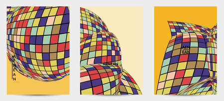 Square pixel mosaic distorted shape. Black wire frame over flat retro colors. Abstract air balloon vector background.