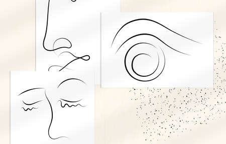 Trendy design templates with portrait woman in abstract one line graphic style. Contemporary background. Hand drawn vector art. Modern wall art, print or poster mock up with shadow overlay.