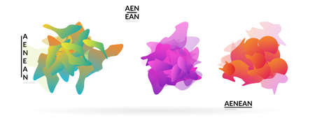 Abstract futuristic wavy shapes. Futuristic vector illustration badge set. Gradient bubbles with transparent random overlapping flower like shapes