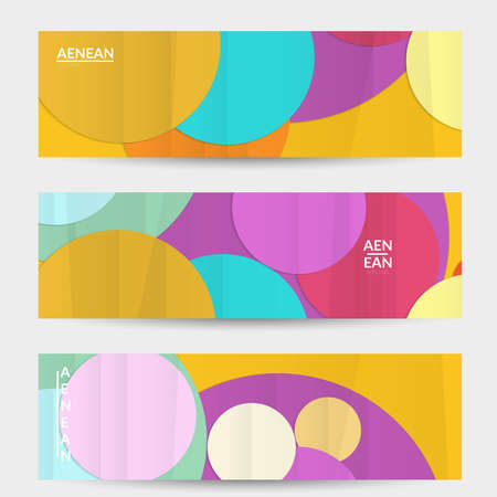 Abstract vector banner template with folded paper overlapping geometric shapes. Environmental design with cut out geometric objects made of recycled reused paper. Top view geometric pattern.