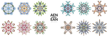 Set of floral symmetrical geometrical symbols. Vector flower mandala icon isolated on white. Oriental round colored pattern. Properly grouped for black outline and colored part of each mandala.