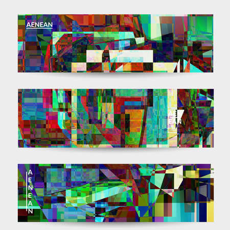 Abstract vector banner template. Small broken pixel distortion glitch art. Matrix geometric pattern. Vibrant colorful digital texture. Computer marketing sale background. Web page frame. Illusztráció