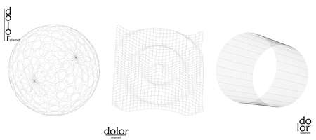 Abstract wire frame vector object set. 3D digital surface. Geometric structure o computer modeling geometric shape. Low poly logo isolated on white. Futuristic art design element.
