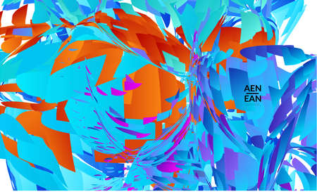 Abstract landing page template with bright colored random small particle explosion. Sport music social media layout. Optical art dynamic background with outer space motion. Futuristic vector.