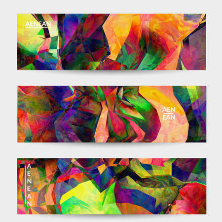 Multicolored wavy pattern overlapping gradient filtered shapes. Vibrant light effect stained glass window or cubism art painting banner template. Abstract vector template for marketing technologies.