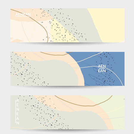 Abstract vector banner design with wavy motley shapes in natural colors. Hand textured with stripes and scribbles. Modern contemporary art. Web header template for sale promotion event.