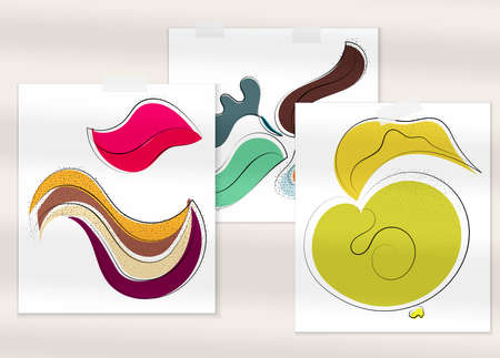 Abstract hand drawn vector artistic poster set with shadow overlay. Line art artistic illustration with texture. Retro flat colors organic natural design. Organic healthy vegan doodle.