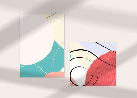 Abstract face art one line continuous drawing. Woman fashion logo portrait. Free hand sketch. Minimal poster or print mock up with shadow overlay. Contemporary trendy card or flyer design template. Ilustracja