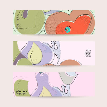 Vector web banner template. Abstract hand dawn fruit header. Grange textured flat design. Organic natural food artistic illustration. Cartoon calligraphic line logo with smooth curves. Ilustracja