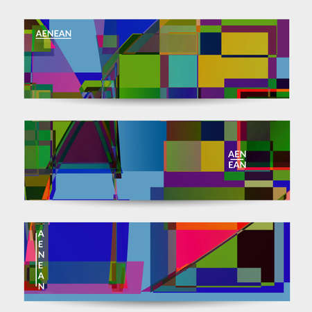 Abstract vector banner template. Large vibrant colored overlapping squares. Retro TV test glitch effect digital art. Pixel uneven geometric pattern. Big data cyberspace computer filtered texture.