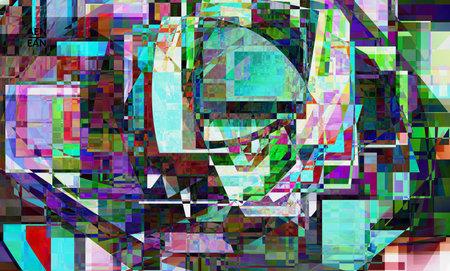 Abstract vector wallpaper. Small broken pixel distortion glitch art. Matrix geometric pattern. Vibrant colorful digital texture. Computer marketing sale background template. Vecteurs