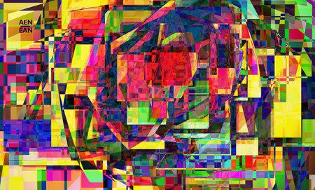 Abstract vector wallpaper. Small broken pixel distortion glitch art. Matrix geometric pattern. Vibrant colorful digital texture. Computer marketing sale background template. Ilustracja