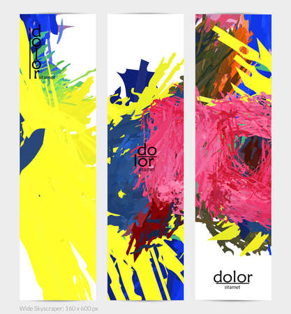 Abstract vector vertical banner. Colorful brush stoke of digital watercolor paint. Dimensional layered feather rainbow colored texture. Creative artistic advertising template. Bright rough scribble.