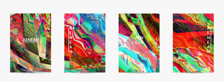 Abstract vector flyer template. Diagonal geometric vibrant colored pattern. Polarized light in microscopic view crystal structure. Dynamic computer filtered multicolored artistic background. Vektorgrafik