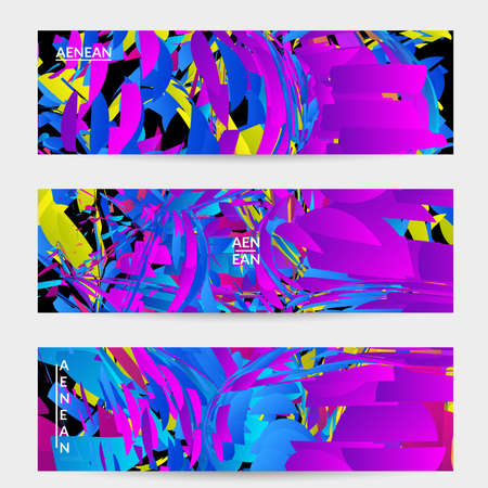 Abstract banner template with bright colored random small particle explosion. Sport music social media layout. Optical art dynamic background with outer space motion. Futuristic vector.