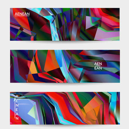 Abstract vector banner template. Diagonal geometric vibrant colored pattern. Polarized light in microscopic view crystal structure. Dynamic computer filtered multicolored artistic textured background