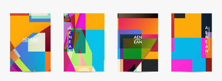 Abstract vector flyer template. Large vibrant colored overlapping squares. Retro TV test glitch effect digital art. Pixel uneven geometric pattern. Big data cyberspace computer filtered texture