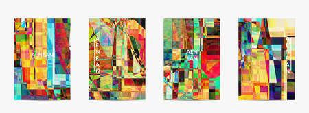 Abstract vector flyer template. Small broken pixel distortion glitch art. Matrix geometric pattern. Vibrant colorful digital texture. Computer marketing sale background. Vecteurs