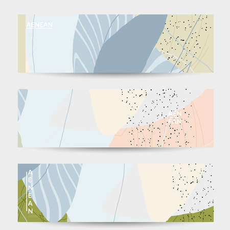 Minimal abstract vector banner template. Organic grunge textured overlapping wavy shapes and lines. Scribbled hand drawn pastel colored background. Striped dotted leaf forms. Contemporary design. Ilustración de vector