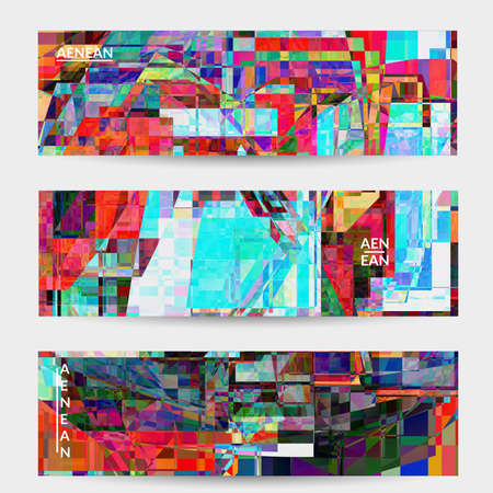 Abstract vector banner template. Small broken pixel distortion glitch art. Matrix geometric pattern. Vibrant colorful digital texture. Computer marketing sale background. Web page frame.