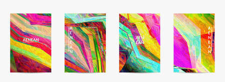 Abstract vector flyer template. Diagonal geometric vibrant colored pattern. Polarized light in microscopic view crystal structure. Dynamic computer filtered multicolored artistic background.