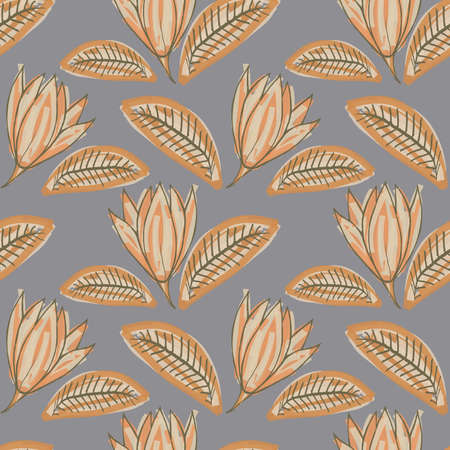 Abstract hand drawn vector seamless pattern. Floral motifs, rough pain texture, natural earth colors. Dots blobs marker brush strokes create artistic background.