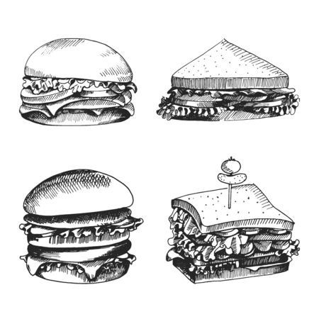 Hand drawn icons for food menu with burger and sandwich. Fast food vector. Great vintage line drawing sketch for coloring book, brochure or leaflet design
