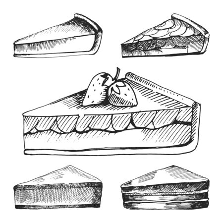 Hand drawn icons for food menu with berry pies, cheese cake and other various types of pies. Fast food vector. Great vintage line drawing sketch for coloring book, brochure or leaflet design