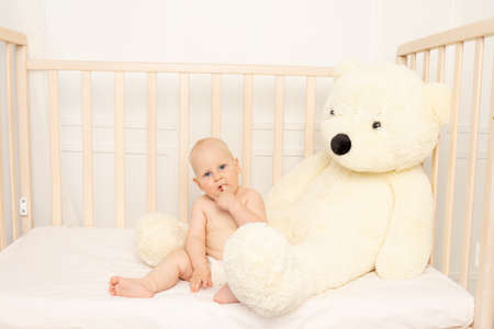 baby boy 8 months old sitting in diapers in a crib with a large Teddy bear in the nursery, place for text Reklamní fotografie