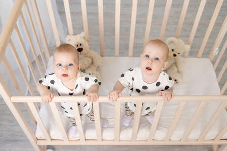 two baby twins brother and sister 8 months sit in their pajamas in the crib and look at the camera, top view, the concept of friendship, a place for text
