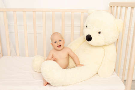 baby boy 8 months old sitting in diapers in a crib with a large Teddy bear in the nursery, place for text 版權商用圖片