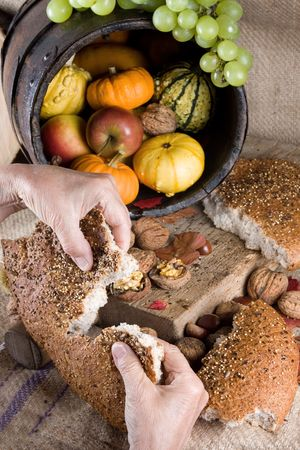 Thanksgiving scene with nuts, grapes and gourds, and two hands sharing bread photo