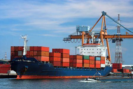 Grote container schip in een dok in Antwerpen haven (logo's en brandnames systematisch verwijderd)