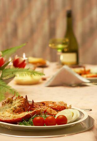 lobster dinner: Table ready to serve an elegant lobster dinner Stock Photo