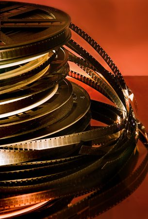 Stacked rolls of old movies