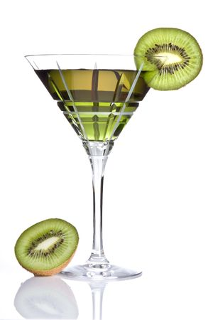 happyhour: Summer drink decorated with a slice of kiwi Stock Photo
