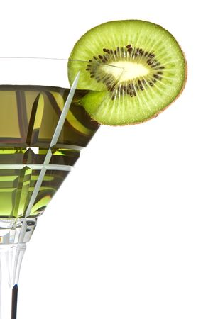 aperitive: Summer cocktail decorated with a slice of kiwi Stock Photo