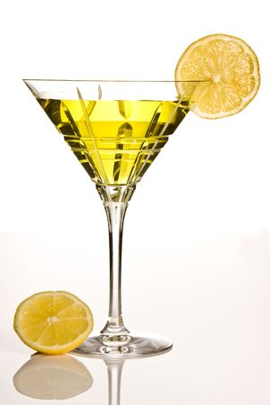 Party drink decorated with a slice of lemon photo