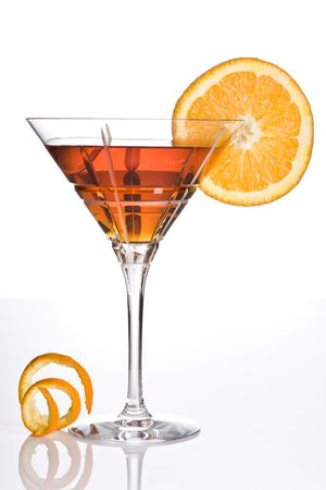 aperitif: Summer drink decorated with a slice of orange