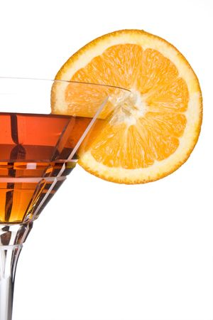 Party drink decorated with a slice of orange photo