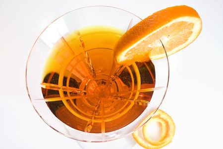 aperitive: Party drink decorated with a slice of orange Stock Photo