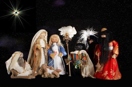 reyes magos: Pesebre de Navidad, a mano por un adolescente, con el pastor y los sabios