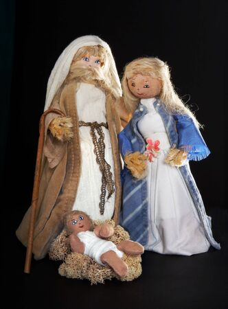 Mary, Joseph and the Holy Child, figures of a christmas stable, handmade by a teenager Stock Photo - 3727637