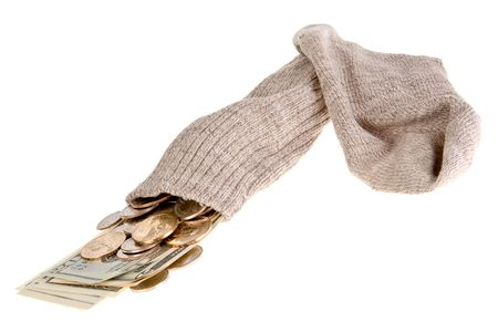 safest: Old gray sock as the safest place to put your money Stock Photo