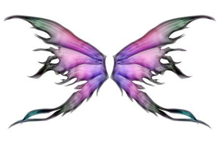 パステル カラーの白で妖精の翼のセット