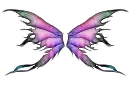 butterfly wings: Pastel colored set of fairy wings on white Stock Photo