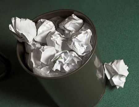 Waste paper basket, full of paper balls Stock Photo - 3744450