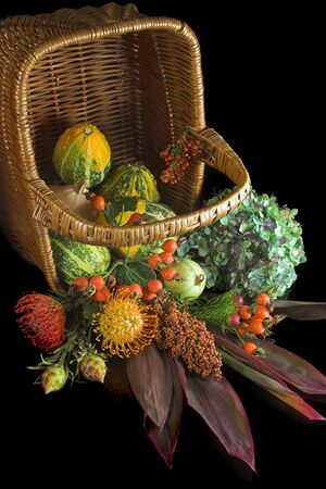 Autumn basket with berries, flowers and gourds Stock Photo - 3763887