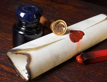 caligraphy: Sealed roll of parchment paper